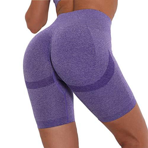 NC Pantalones Cortos Deportivos Leggings Mujer, Shorts de Yoga Fitness, Mallas Yoga Cintura Alta Shorts Leggins Elásticos Push Up Suave para Correr Gym Mallas Deportivos, Púrpura/S