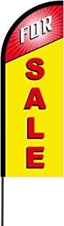 The Curbie for Sale Banner Sign Flex Feather Flag with Carbon Composite Pole Kit, 14' (K3-VK36-MQUC)