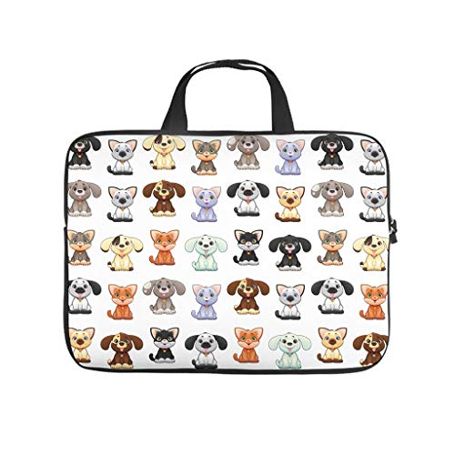 cute-relationship puppy dog pit creative Laptop bag Design Laptop Case Bag Customized Dust-Proof Notebook Carrying Case with Portable Handle for Women Men white 13 zoll