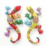 B.H.C. Gartenfigur Gecko, Eidechse, 2er Set in tollen Farbkombinationen, Modell: Garden Flower, Lass die Freude in Haus und Garten, Farbe bunt, Jede Echse 24 cm lang mit Wandbefestigung