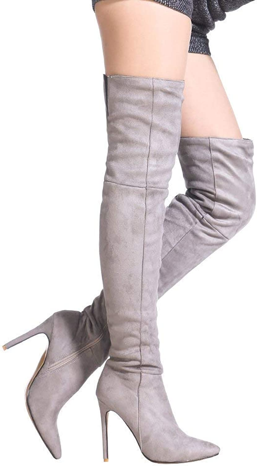 Women's Thigh High Over The Knee Stiletto Heel Pointy Toe Stretch Boots