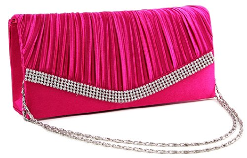 Chicastic Fuchsia Pink Pleated Satin Wedding Evening Bridal Clutch Purse With Rhinestones