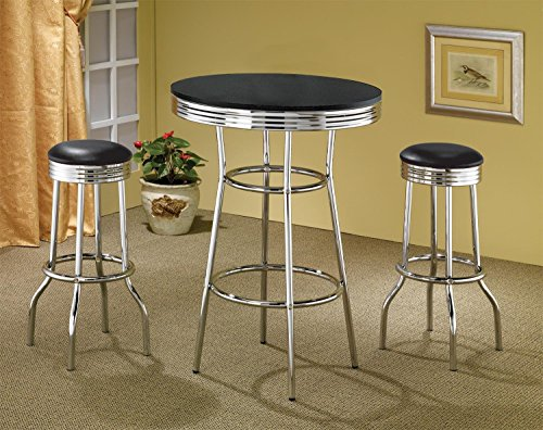 Coaster Home Furnishings Retro 3-Piece Chrome Bar Stools and Table Set