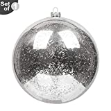 KI Store Extra Large Christmas Ball Ornament 8 Inch Silver Oversized Mercury Ball Plastic Decorative Hanging Decoration for Xmas Party
