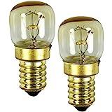COM-FOUR® lámpara de horno 2x hasta 300° C, bombilla de luz de estufa blanca cálida 15W, E14,...
