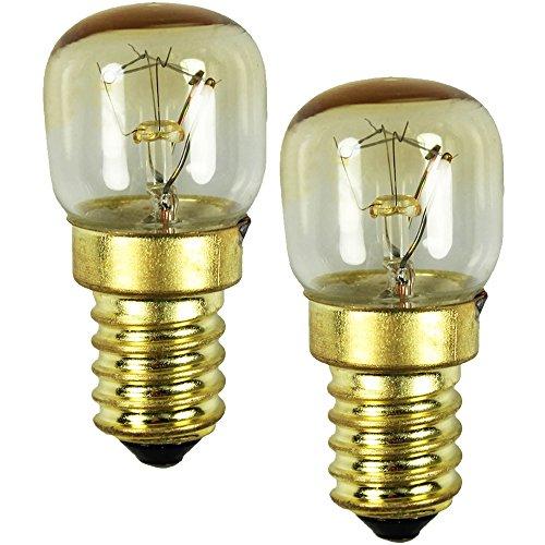 COM-FOUR® 2x lampe de four jusqu'à 300 ° C, ampoule de cuisinière blanc chaud 15W, E14, 230V