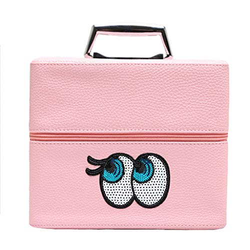 Sac cosmétique à Double Couche de Grande capacité Portable de Stockage de Sac de Lavage Pliant Le Cas cosmétique portatif (Color : Pink, Taille : 24 *