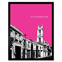 Stockbridge Edinburgh Scotland Landmark Pink Art Print Framed Poster Wall Decor 12X16 Inch エジンバラスコットランドランドマークピンクポスター壁デコ