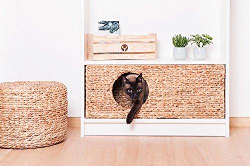 INWONA Katzenkörbchen für Billy Regal natürlicher Katzenkorb Katzenhöhle Kleintiere Hasen Meerschweinchen Höhle 75 x 29 x 25 cm Material: Wasserhyazinthe geflochten