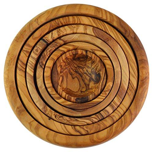 Olive Wood Nesting Bowls, Set di 6, Grano/Naturale