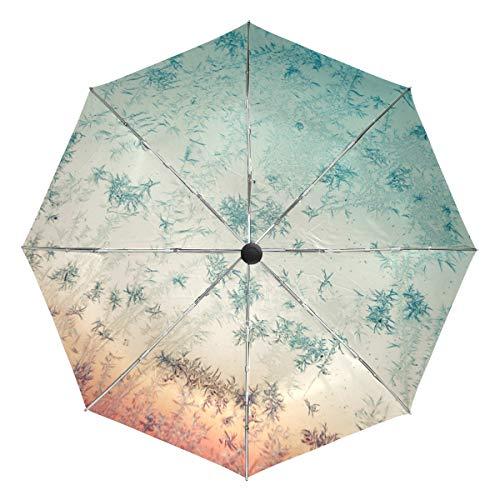 Paraguas de Viaje pequeño a Prueba de Viento al Aire Libre Lluvia Sol UV Auto Compacto 3 Pliegues Cubierta de Paraguas - Copos de Nieve congelados y Escarcha