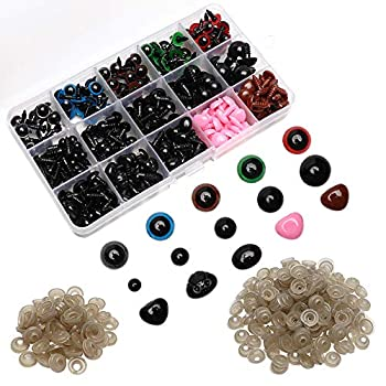 Maznyu 570PCS Premium Plastic Safety Eyes and Noses with Washers Assorted Sizes for Craft Doll Eyes and Teddy Bear Nose Plash Animal and Amigurumi Crochet Toy and Stuffed Animals Craft Making