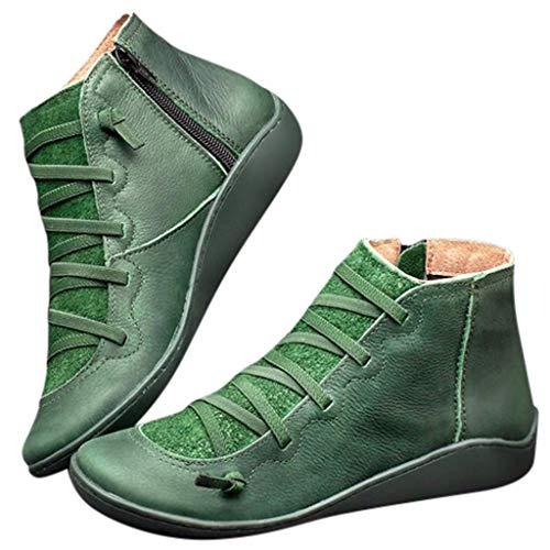 WUSIKY Stiefeletten Damen Casual Flache Leder Retro Schnürstiefel Seitlicher Reißverschluss Runde Stiefel Boots Kappe Schuhstiefel (41 EU, Grün)