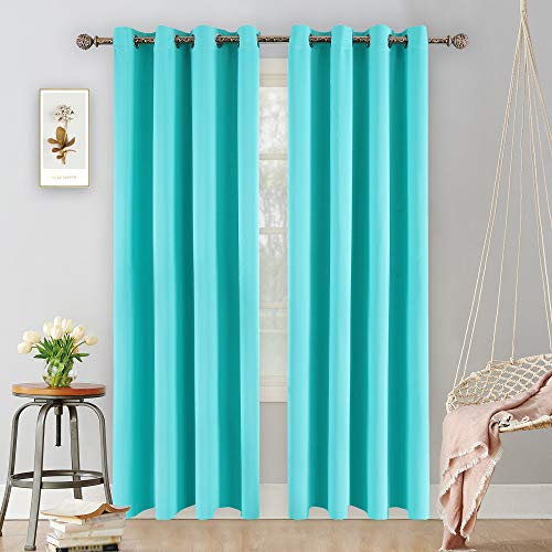 YGO Sleep Well Blackout Room Darkening Grommet Top Curtains Turquoise Color 2 Panels 52 inch Wide by 95 inch Long Each Panel 8 Grommets