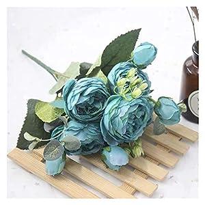 Silk Flower Arrangements KEMEILIAN 1 Bouquet 9 Heads Artificial Peony Tea Rose Flowers Camellia Silk Fake Flower Flores for DIY Home Garden Wedding Decoration