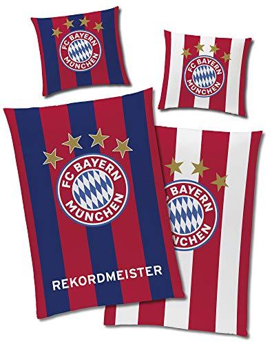 FC Bayern München Wende-Bettwäsche REKORDMEISTER 135 x 200 + 80 x 80 cm 100% Baumwolle Biber-Flanell-Qualität Deutscher Mia San Mia Alianz Arena Fußball FCB deutsche Größe mit Reißverschluss