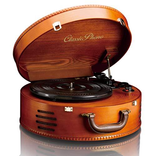 Classic Phono TT-34 - Plattenspieler - Retro Schallplattenspieler - Kofferplattenspieler - USB -Anschluss zum Digitalisieren - Riemenantrieb - Stereo Lautsprecher - 3 Abspielgeschwindigkeiten - braun
