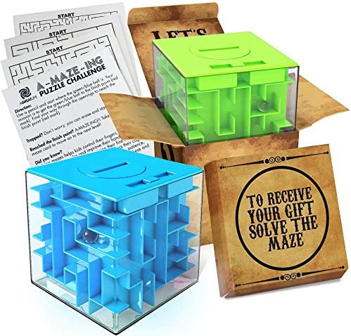 2 Pack Money Puzzle Gift Boxes Two Cool Cube Shaped Puzzle Money Holder Maze Challenging and product image