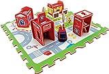 DARPEJE Miniz BR}Alfombra De Juego Puzzle En Goma Eva con Piezas para Construir Tu Propia Estacion De Bomberos. Incluye Vehiculo de Tatamiz-Sycomore Faujas (TTMZ122), Multicolor (1)