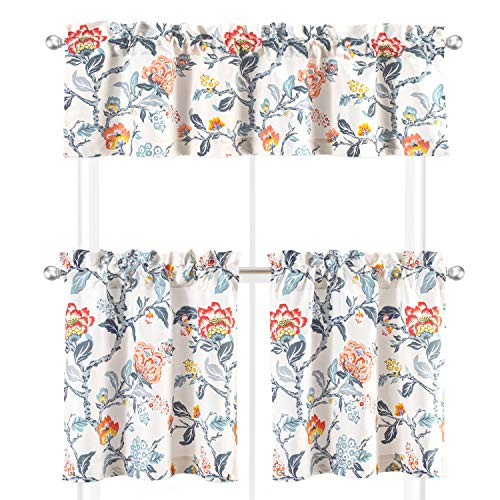 DriftAway Ada Sketch 3 Pieces Rod Pocket Kitchen Window Curtain Set with 2 Tiers 29 Inch by 24 Inch Each and 1 Valance 58 Inch by 14 Inch Multi Florida