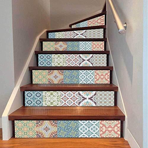 Lianlili 6 unids escaleras extraíbles escaleras Autoadhesivas Etiquetas de cerámica baldosas PVC Escalera Papel Tapiz decoración de la Escalera de Vinilo 18x100cm (Color : 011394)