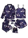 SheIn Women's 7pcs Pajama Set Cami Pjs with Shirt and Eye Mask Navy Flamingo X-Large