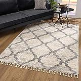 SANAT Wohnzimmer Teppich Rauten Design - Hochflor Tepiche für Wohnzimmer, Schlafzimmer, Küche - Shaggy Teppich Creme, Größe: 120x170 cm