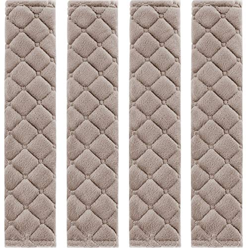 4 Pack Car Seat Belt Pads Seatbelt Protector Soft Comfort Seat Belt Shoulder Strap Covers Harness Pads Helps Protect Your Neck and Shoulder (Khaki)