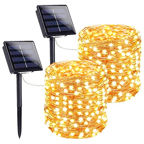 Extra-Long Solar String Lights Outdoor, 2-Pack Each 72FT 200 LED Super Bright Solar Lights Outdoor, Waterproof Copper Wire 8 Modes Solar Fairy Lights for Garden Patio Tree Party Wedding (Warm White)