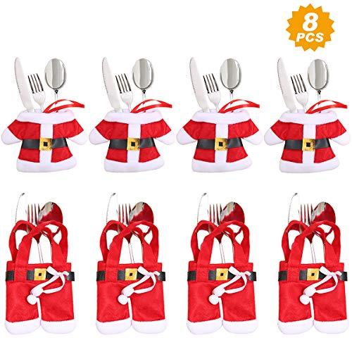 Aitsite 8 Piezas Navidad Cocina Cubiertos Cuchillo Tenedor Cuchara Papá Noel Muñeco Nieve Alce Cuchillo Porta...