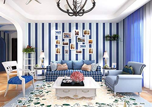 Vliestapete Tapete 3D Blau und Weiß gestreift für Wohnzimmer,Schlafzimmer,Fernsehhintergrund, Sofa Hintergrund, Hotel