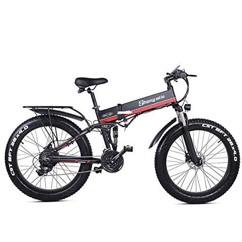 MX01 Bicicleta eléctrica plegable de 26 pulgadas, potente motor de 48V 1000W, bicicleta de montaña, bicicleta gorda, asistente de pedal de 5 niveles (Red, 1000W 14.5Ah + 1 batería de repuesto)