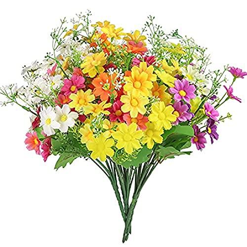 Yyhmkb 6 piezas de flores artificiales de seda sintética, flores de plástico, arbustos de plástico para interiores y exteriores, decoración del hogar