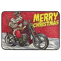 クリスマス装飾玄関マット家の装飾ヴィンテージ面白いサンタクロースバイカー乗馬チョッパーモーターようこそ屋内屋外エントランスバスルームフロアマット滑り止め洗える冬のホイルデーペットフードマット40cm x 60cm