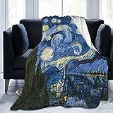 Foruidea Van Gogh Sternenhimmel Flanell-Überwurfdecke Bettdecke als Tagesdecke/Tagesdecke/Bettüberwurf, weich, leicht, warm & gemütlich, 101,6 x 127 cm, für Jungen & Mädchen