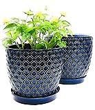 Blue Ceramic Planter Pot Set - Large 8.5' & 7.5' inch Planters w/...
