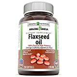 Amazing Omega Flaxseed oil dietary supplement 1200 mg- 250 softgels (Non-GMO,Gluten Free) – Excellent source of Omega 3s - Supports Heart health, Joint health, Immune system health, Digestive function