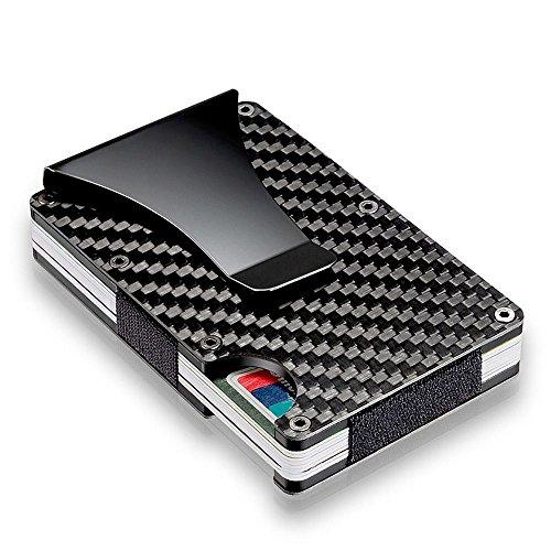 Nowsend Kreditkartenetui mit Geldklammer aus Aluminium,RFID & NFC Schutz Mini Geldbörse Anti-Diebstahl Portemonnaie für Herren und Damen (Carbon Fiber)