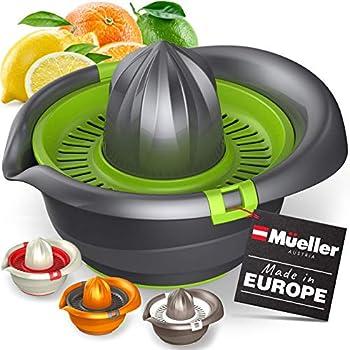 Mueller Citrus Lemon Orange Juicer Hand Squeezer Rotation Press Manual Juicer with Easy Pour Spout European Made Dishwasher Safe Gray