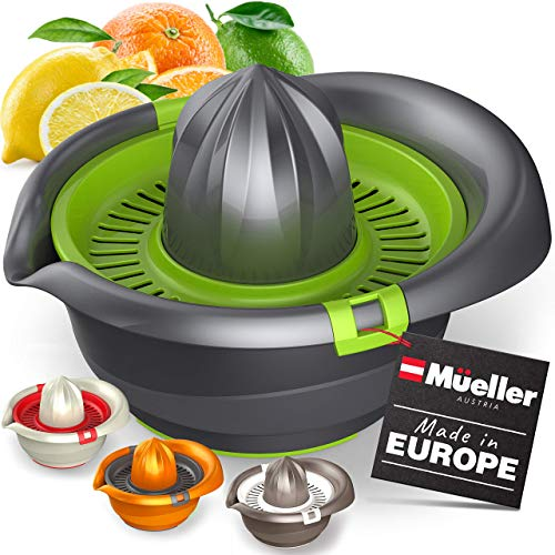 Mueller Citrus Lemon Orange Juicer, Hand Squeezer Rotation Press, Manual Juicer with Easy Pour Spout, European Made, Dishwasher Safe, Gray