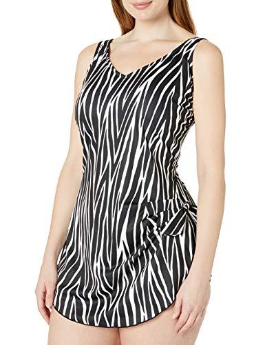 Maxine Of Hollywood Women's Plus Size Side Tie Wide Strap Sarong Swim Dress One Piece Swimsuit, Black//Zebra, 24W
