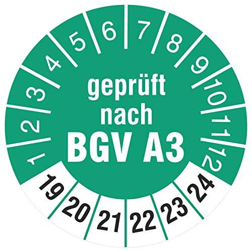 200 Stück Geprüft nach BGV A3 30 mm Prüfetiketten Prüfplaketten Rollenware türkis 2019-24