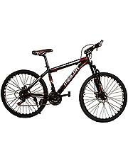 دراجة جبلية للبالغين بسرعة 21 وعجلات قياس 26 انش مع مزودة بشوكة امامية وفرامل قرصية وعجلة عاكسة - اسود/احمر