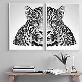 Yegnalo Blanco y Negro Animal Tigre Cartel Lienzo Pintura nórdica Pared Arte Imagen Sala de Estar decoración del hogar Moderno