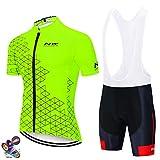 Fxwj Maillot Ciclismo Hombre Verano Ropa Bicicleta Montaña Manga Corta + Pantalones Cortos con Acolchado 19D para Deportes Al Aire Libre Ciclo Bicicleta,B,XL