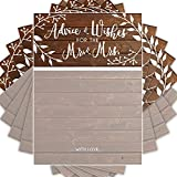 Wedding Advice Cards | Rustic | Well Wishes to Bride & Groom | Guest Book Alternative | Bridal Showers Games and Decorations - 50 Pack