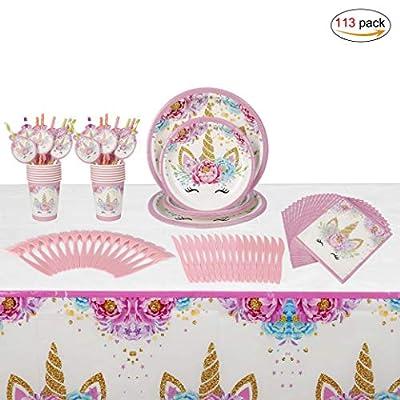 Unicornio Desechable Vajilla Accesorio de Decoración de Fiesta de Cumpleaños para 16 personas Rosa Desechable Plato Servilletas Taza Paja Mantel para Niños Niña Baby Shower Boda 113 Piezas