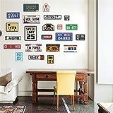 WLYUE RétroPlaque D'immatriculation De Voiture Stickers Muraux Stickers Vintage Décor À La Maison Signes Bar Pub Café Décor Signe Garage Peinture Autocollant