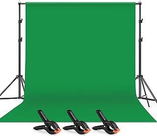 Andoer 2 x 3 M Fondo Verde de Fotografía con Sistema de Soporte y 3 Abrazaderas + 1 Bolsa , Telón de Fondo para Estudio Fo...