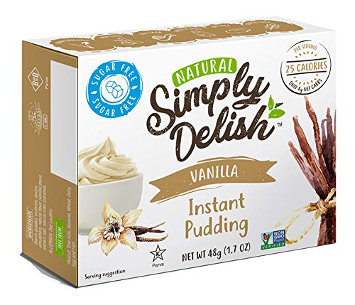 Simply Delish Natural Instant Vanilla Pudding - Sugar Free, Non GMO, Gluten Free, Fat Free, Lactose Free, Keto-Friendly, 1.7 OZ (Pack of 6)
